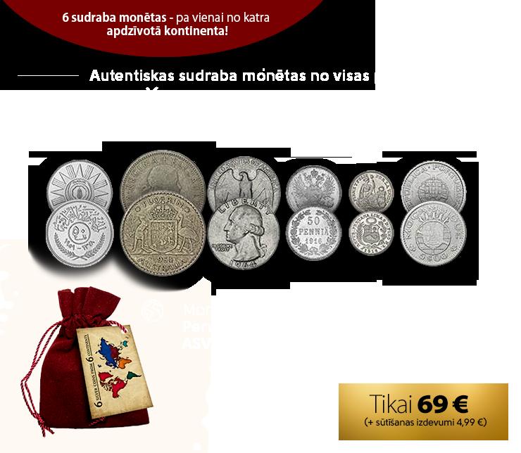 6 sudraba monētas – pa vienai no katra apdzīvotā kontinenta!