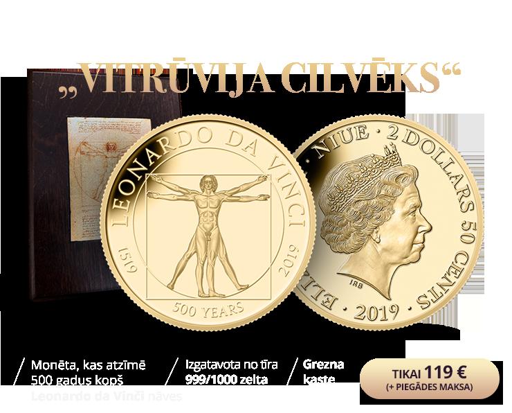 """Tīra zelta monēta """"Vitrūvija cilvēks"""" (0,5g)"""