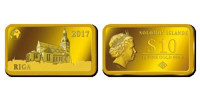 """Tīra zelta monētu kolekcija """"Skaistā Eiropa"""", pirmā monēta """"Rīga"""""""