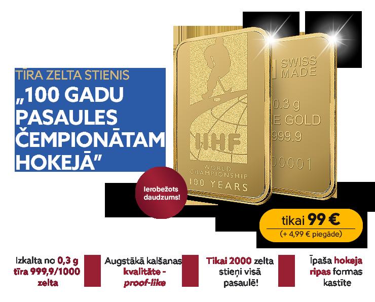 """Tīra zelta stienis """"Simts gadu pasaules čempionātam hokejā"""" (0,3 g)"""
