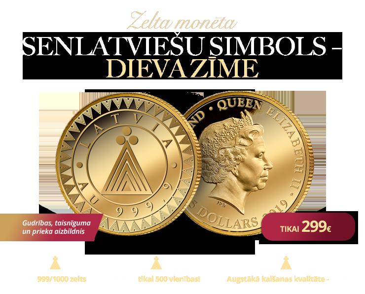 """Zelta monēta """"Dieva zīme"""""""