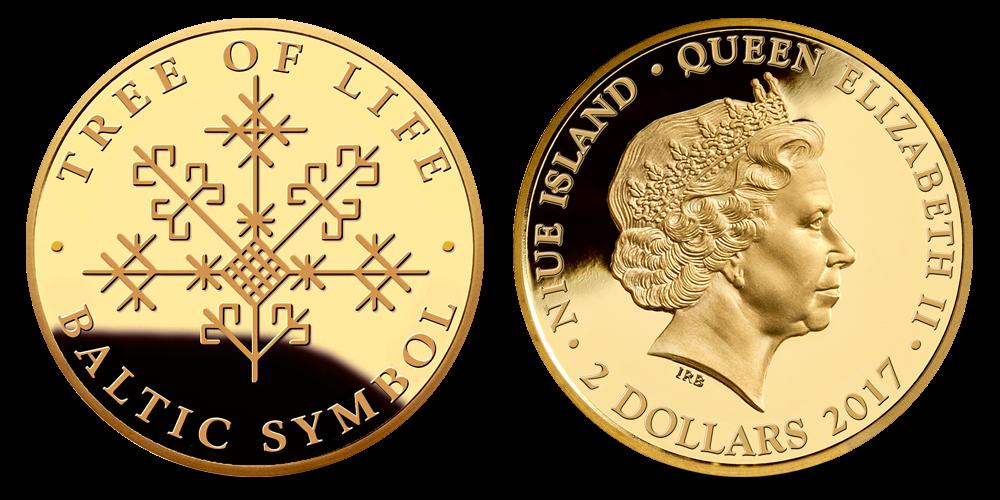 """Zelta monēta """"Dzīvības koks"""""""