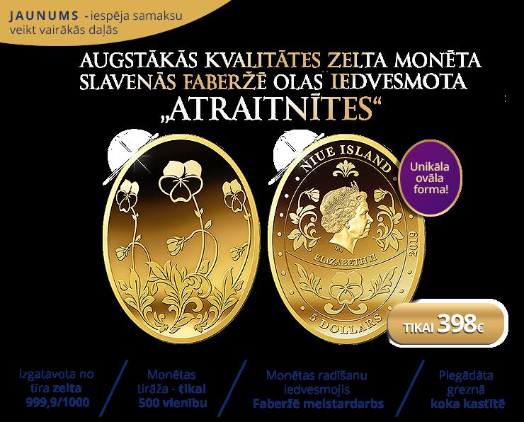 """Zelta monēta """"Faberžē ola. Atraitnītes"""""""